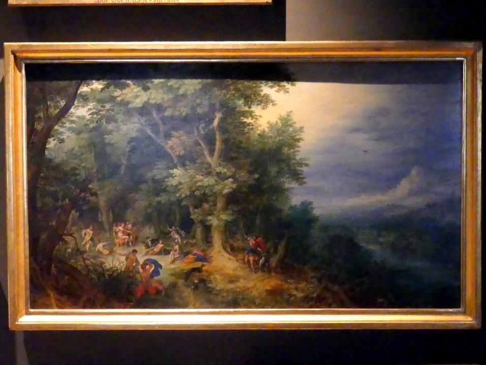 Jan Brueghel der Ältere (Blumenbrueghel): Landschaft mit Diana und Aktäon, Undatiert