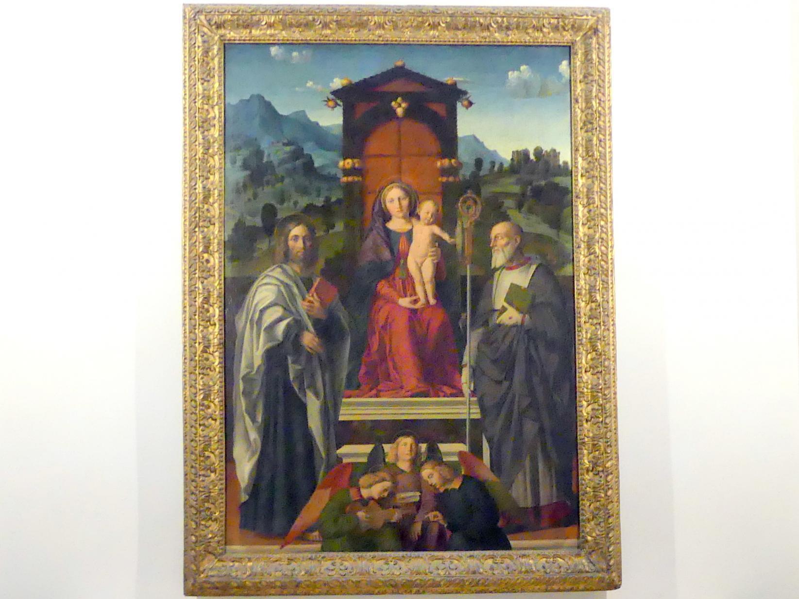 Girolamo dai Libri: Thronende Madonna mit den hll. Bartholomäus und Zeno, um 1510