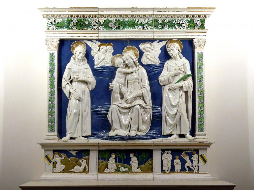 Andrea della Robbia: Madonna mit dem hl. Franziskus und dem hl. Cosmas (?), um 1470