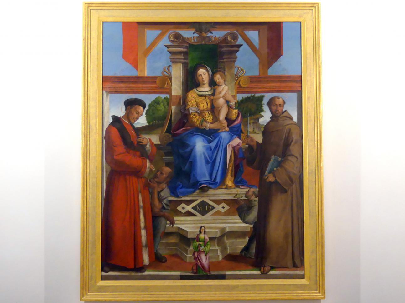 Bartolomeo Montagna: Thronende Madonna mit dem hl. Homobonus und einem Bettler, dem hl. Franziskus und dem seligen Bernardino da Feltre sowie der hl. Katharina, um 1515