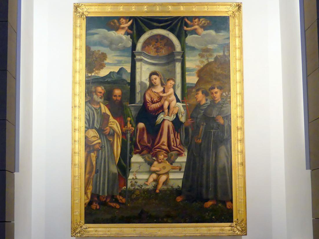 Francesco Vecellio: Thronende Madonna mit den hll. Petrus, Paulus, Franziskus und Antonius von Padua, um 1520
