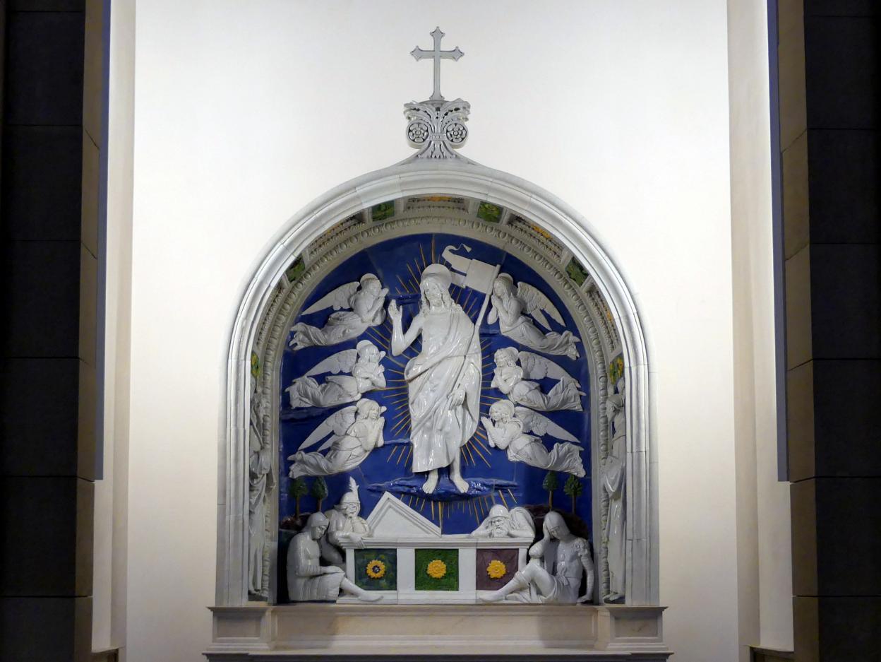 Andrea della Robbia: Die Auferstehung Christi mit den hll. Bartholomäus und Bernhard, 1. Viertel 16. Jhd.