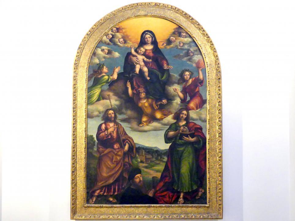 Nicola (Nicolò) Giolfino: Madonna mit drei christlichen Tugenden, den hll. Jakobus Major, Johannes der Evangelist und einem Stifter, um 1525 - 1530
