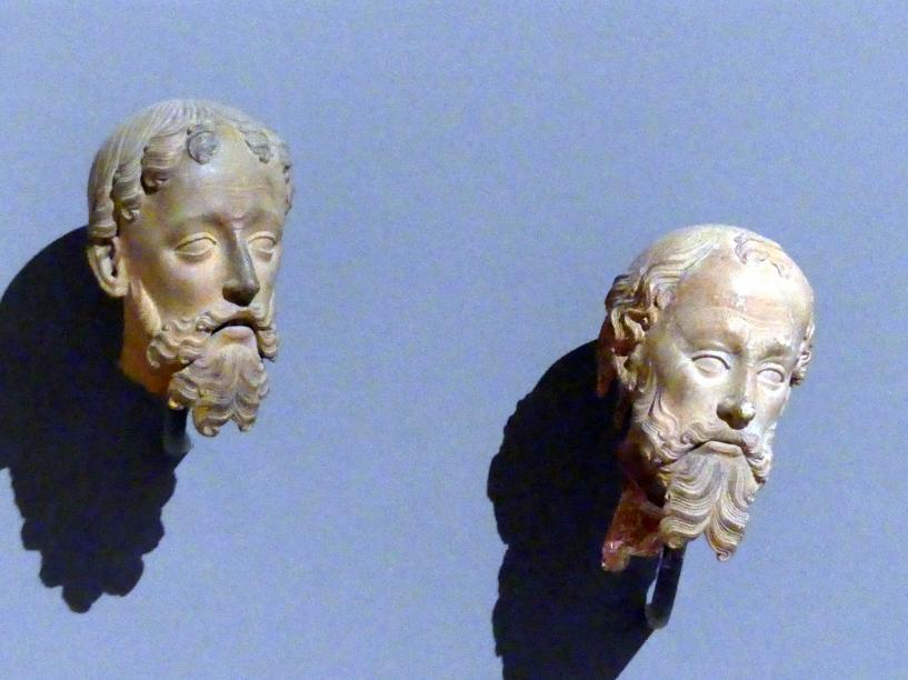 Köpfe von Königen aus einer Anbetung des Christuskindes, um 1400