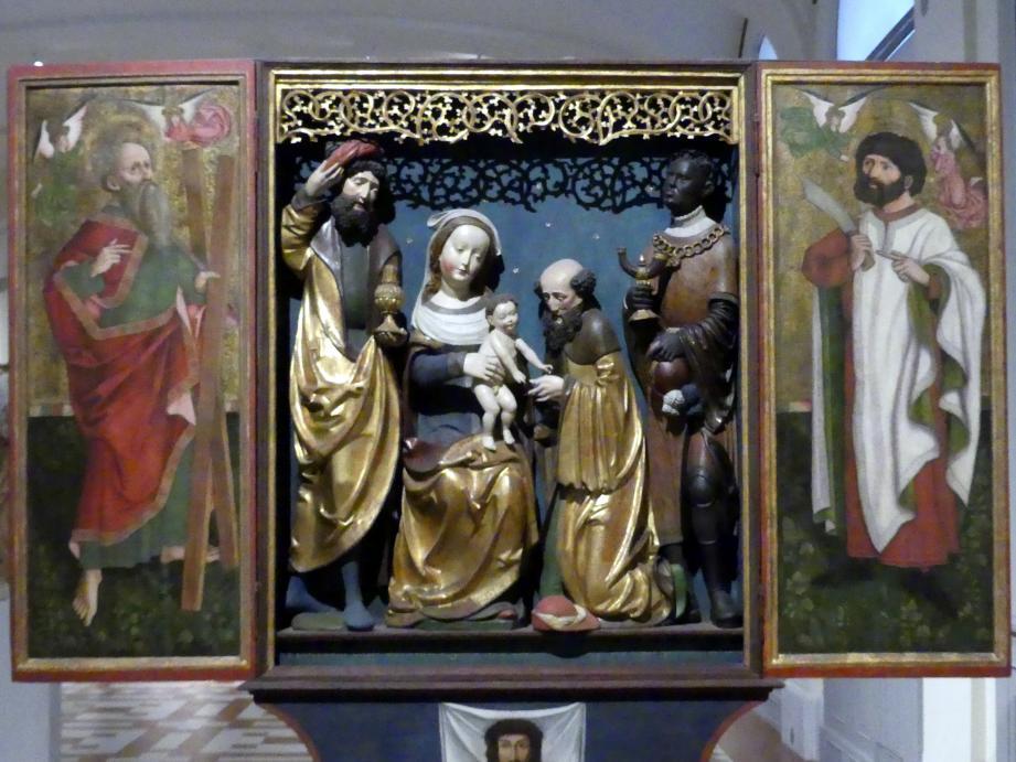 Flügelretabel mit der Anbetung der Heiligen Drei Könige im Schrein, 1519