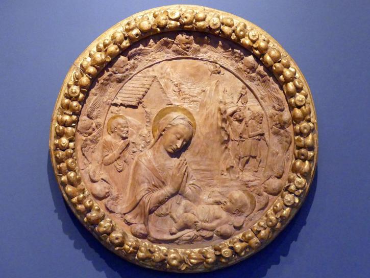 Antonio Rossellino (Nachfolger): Anbetung des Kindes mit dem heiligen Josef und die Verkündigung an die Hirten, um 1470 - 1480