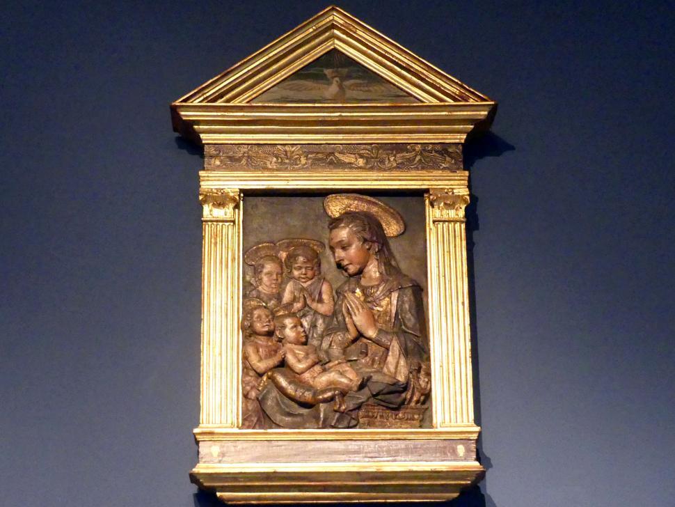 Andrea del Verrocchio (Werkstatt): Maria mit Kind, Johannes dem Täufer und zwei Engeln, um 1470 - 1480