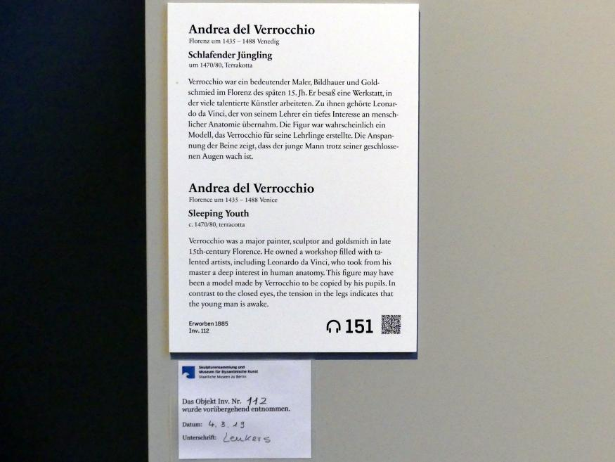 Andrea del Verrocchio: Schlafender Jüngling, um 1470 - 1480