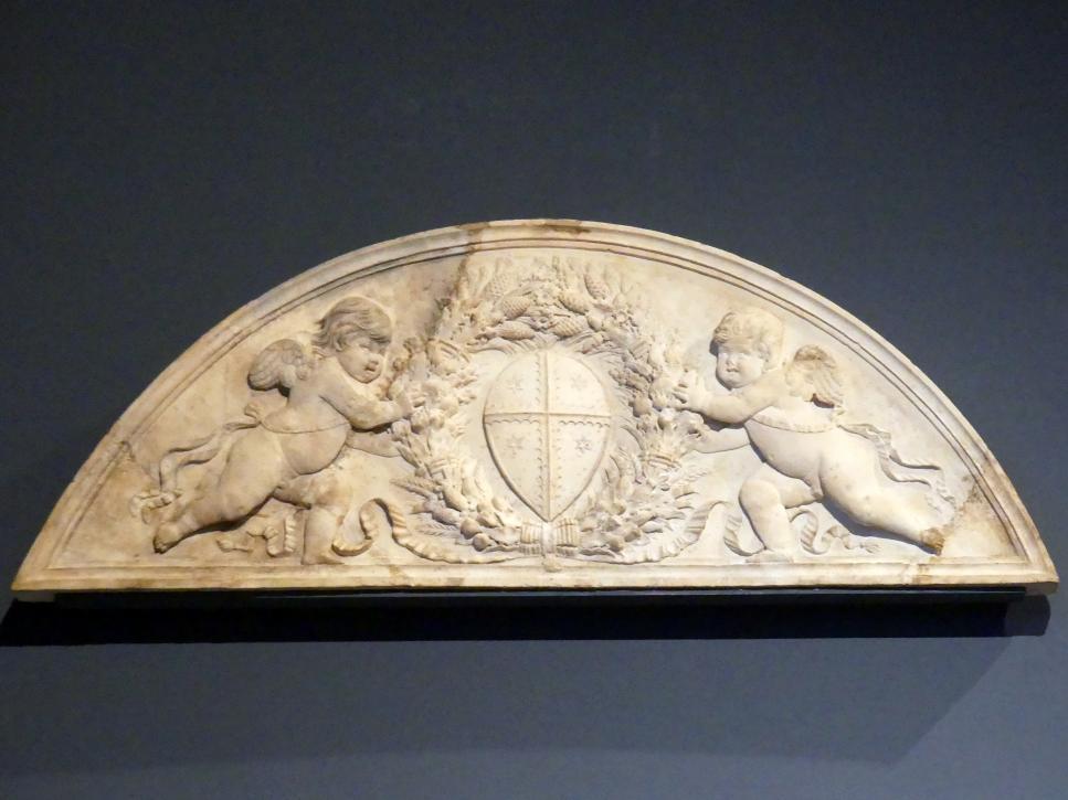 Benedetto da Maiano (Werkstatt): Lünette mit zwei Putten und dem Wappen der Florentiner Familie Gherardi, um 1480 - 1490