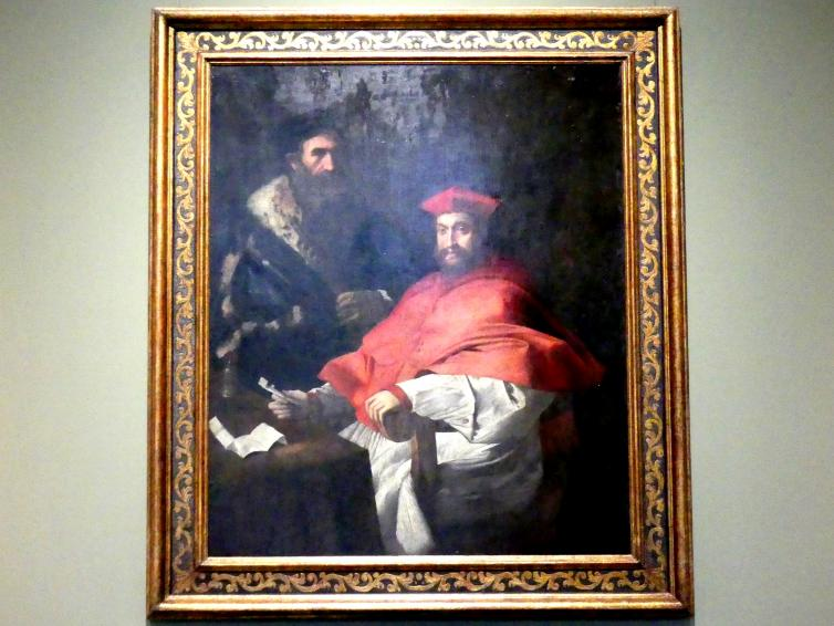 Girolamo da Carpi: Bildnis eines Kardinals mit einem Sekretär (Kardinal Giovanni Salviati ?), Undatiert