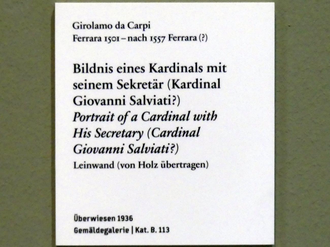 Girolamo da Carpi: Bildnis eines Kardinals mit einem Sekretär (Kardinal Giovanni Salviati ?), Undatiert, Bild 2/2