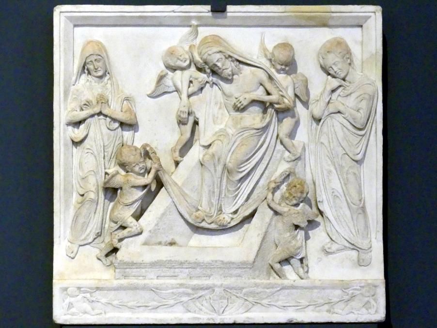 Niccolò di Giovanni Fiorentino: Grablegung Christi mit Maria und Johannes dem Evangelisten, 1460 - 1470