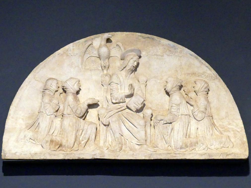 Der Evangelist Johannes segnet Mitglieder seiner Bruderschaft, 1481