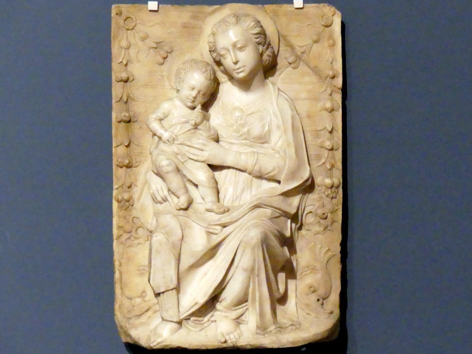 Gregorio di Lorenzo: Madonna auf Delphinen, 2. Hälfte 15. Jhd.