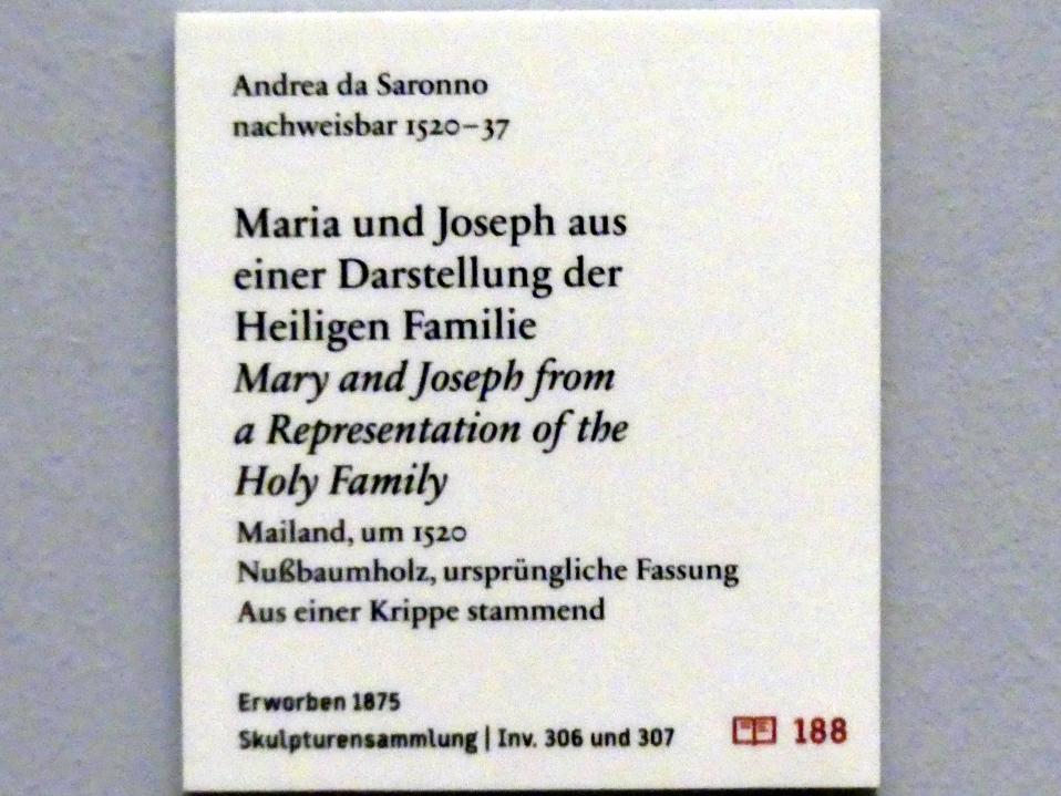 Andrea da Milano (Andrea da Saronno): Maria und Joseph aus einer Darstellung der Heiligen Familie, um 1520, Bild 6/6