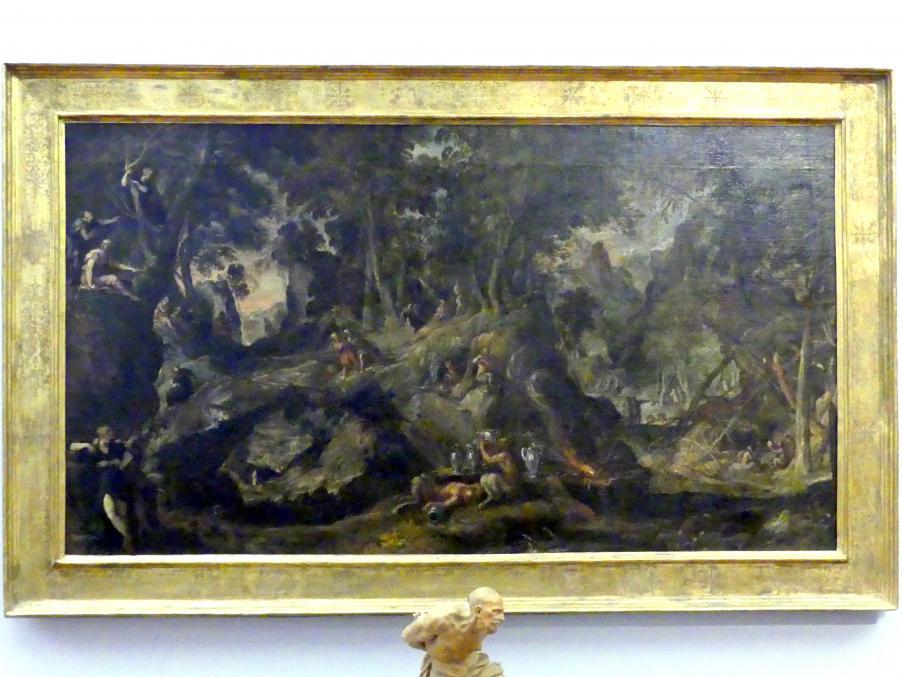 Paolo Fiammingo (Pauwels Franck): Felsige Waldlandschaft mit Satyrn, Nymphen, Midas und Pan, um 1590 - 1595