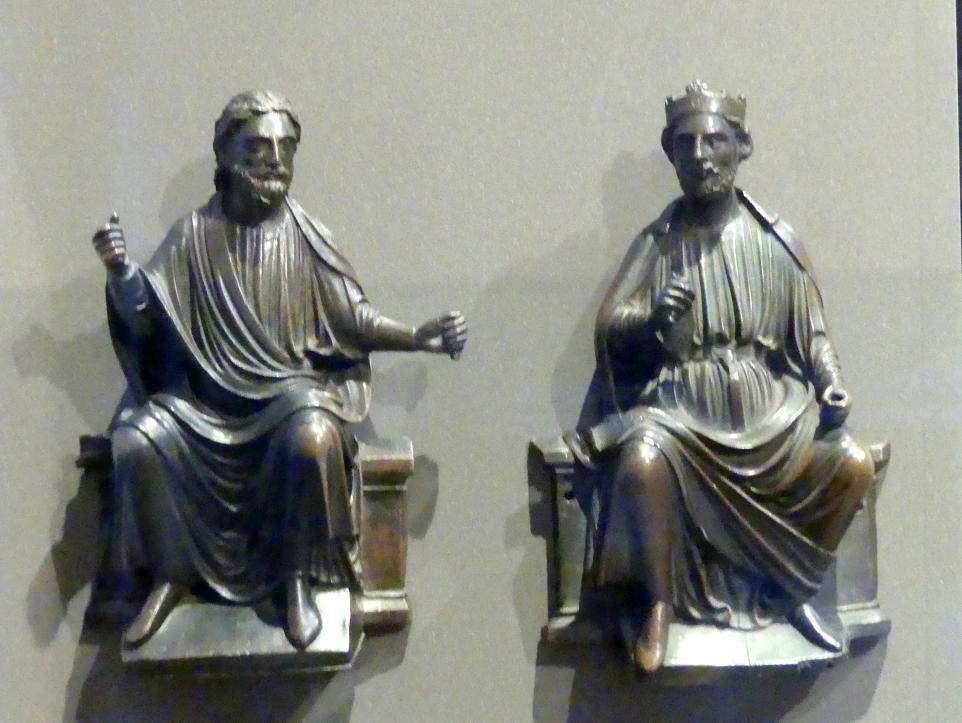 Thronender Apostel und thronender König (Salomon?), Beginn 13. Jhd.