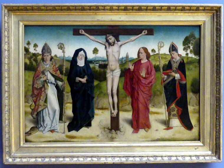 Dieric Bouts d.Ä. (Nachfolger): Christus am Kreuz zwischen Maria und Johannes, Adolphus und Ambrosius, Undatiert