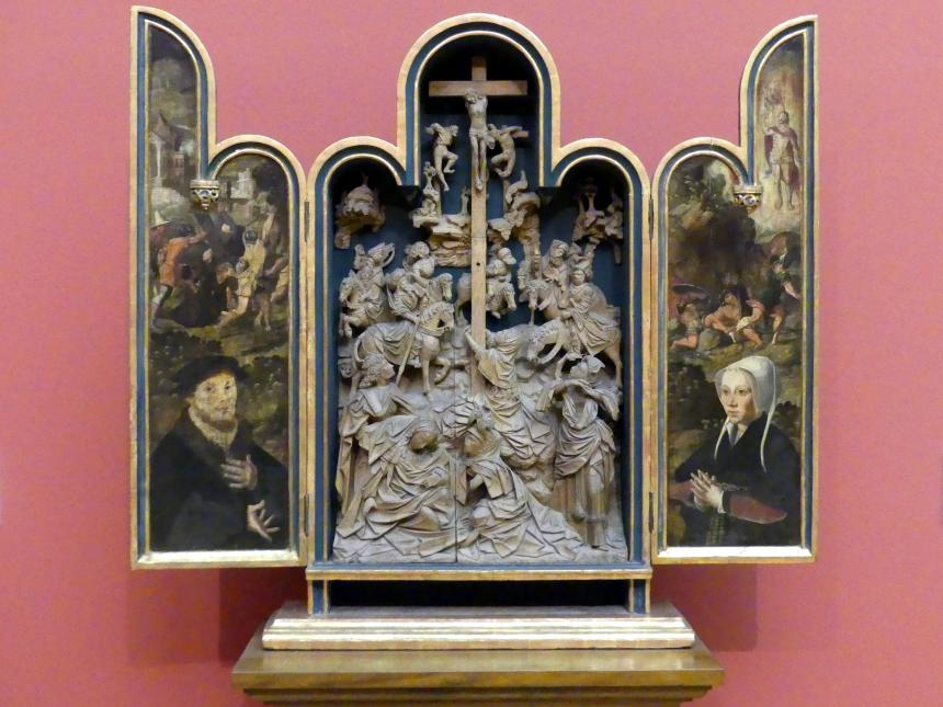 Kleiner Hausaltar mit der Kreuzigung und Stifterporträts, um 1525