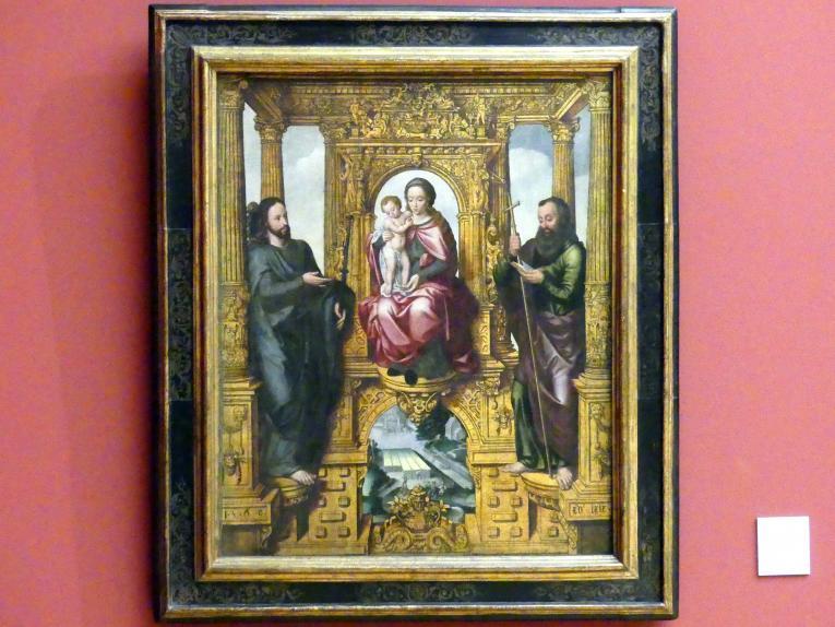 Pieter Claeissins der Ältere: Thronende Muttergottes mit den hll. Jakobus dem Älteren und dem Jüngeren, 1569