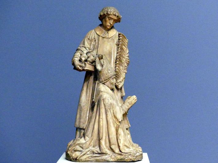 Jacques Morel: Kniender Bischof mit dem hl. Stephanus als Fürbitter, um 1450