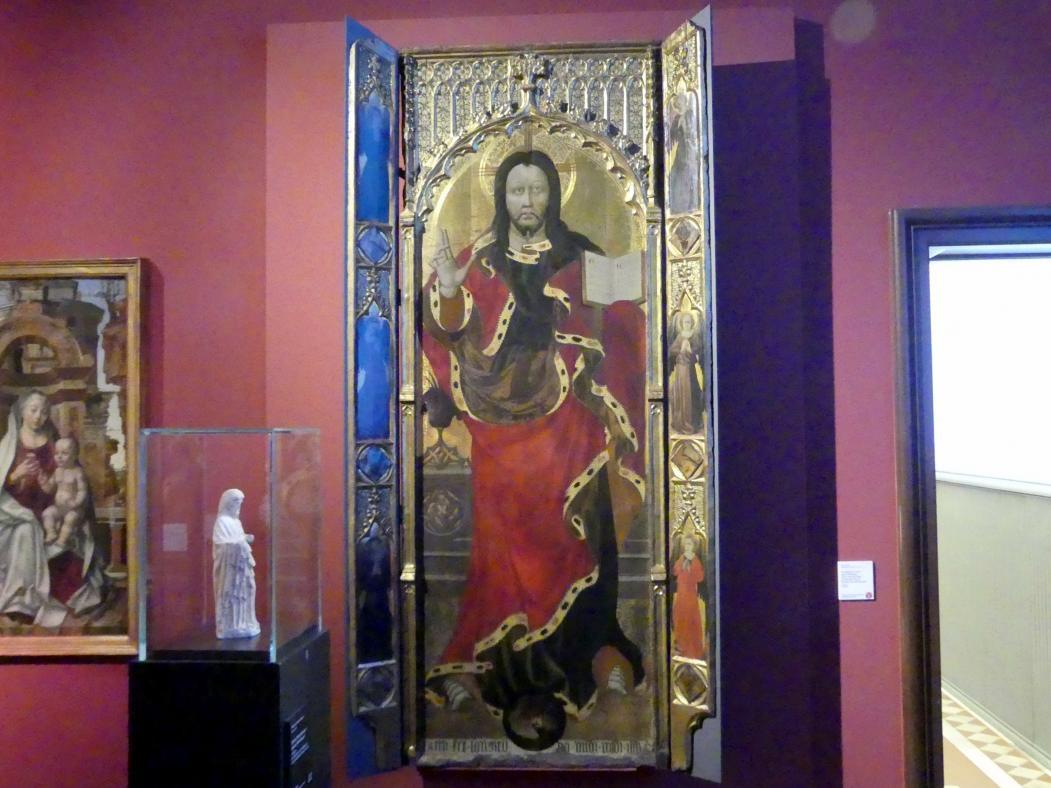 Pedro Nicolau: Der segnende Christus auf der Weltkugel, sechs anbetende Engel, um 1400