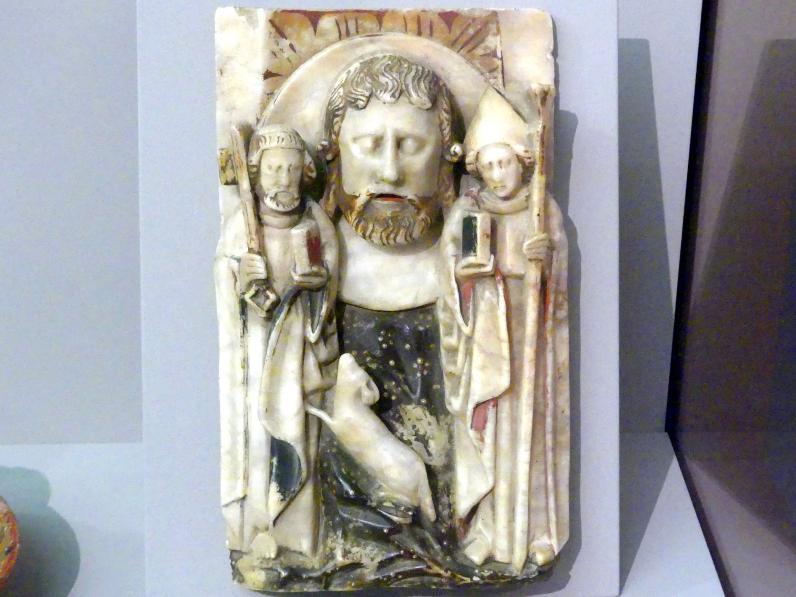 Haupt Johannes des Täufers zwischen dem hl. Petrus und dem Hl. Thomas von Canterbury, 1. Hälfte 15. Jhd.