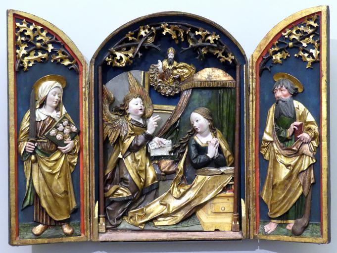 Retabel: Verkündigung an Maria, die hl. Felicitas und der hl. Jakobus der Jüngere, um 1520
