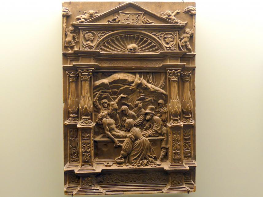 Hans Schwarz: Grablegung Christi in reicher architektonischer Umrahmung, 1516