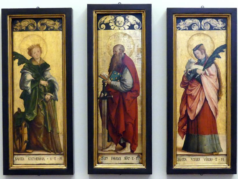 Meister von Meßkirch: Retabelflügel: Hl. Katharina, hl. Agnes und hl. Paulus, um 1520 - 1530