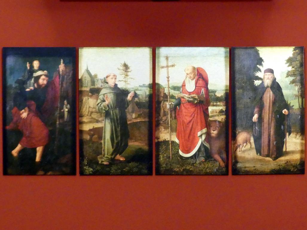 Gerard David: Die heiligen Franziskus, Hieronymus, Christophorus und Antonius, um 1500