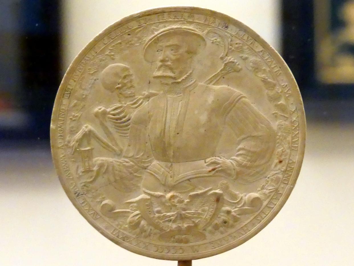"""Hans Schenck (Hans Scheußlich): Bildnis des Hans Klur mit dem Tod und """"Schandgemälde"""" auf Papst Paul III., 1546"""