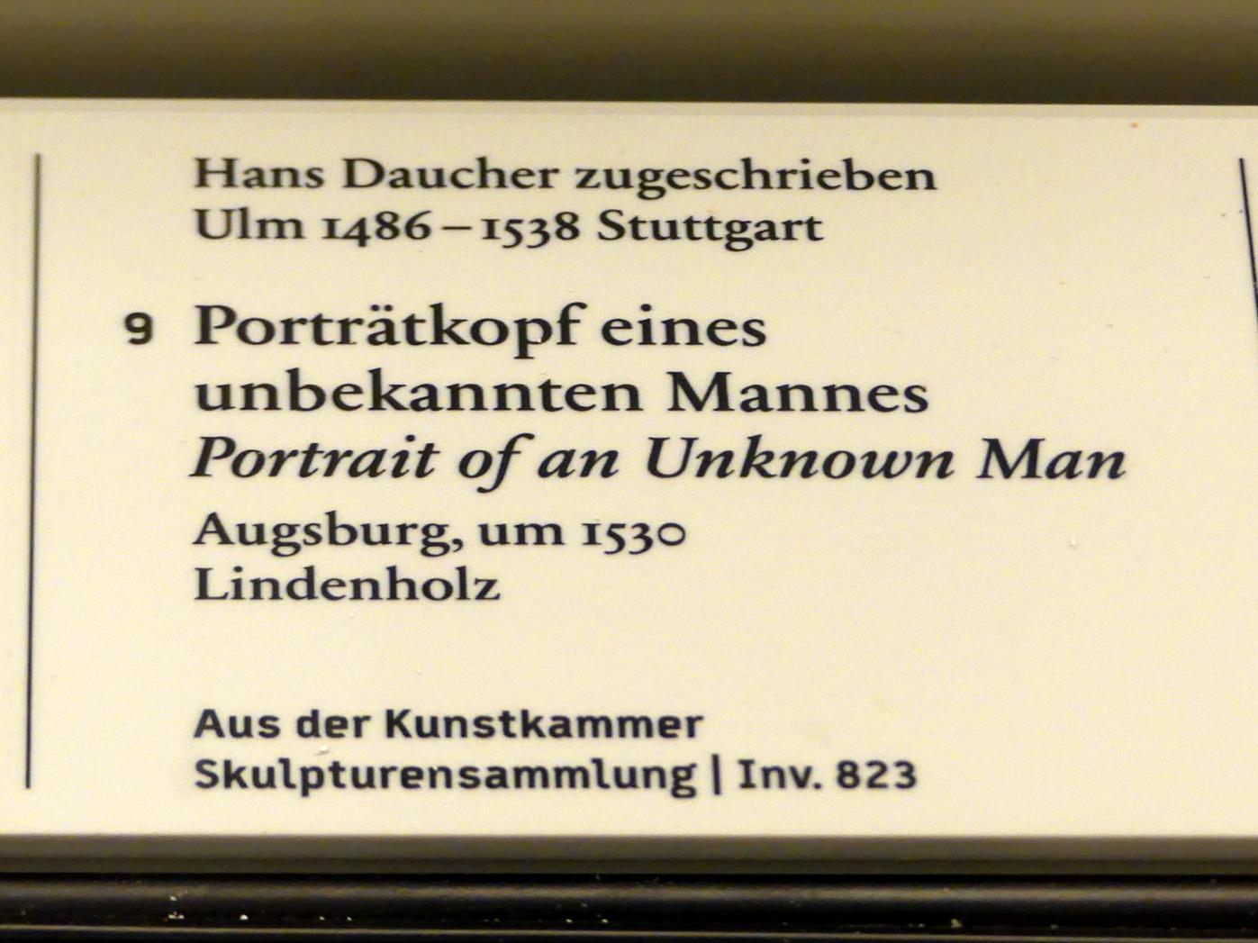 Hans Daucher: Porträtkopf eines unbekannten Mannes, um 1530