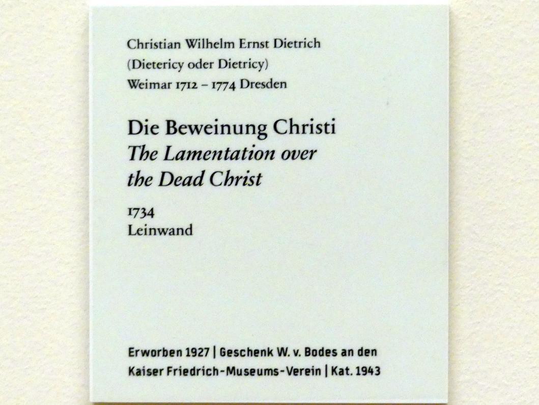 Christian Wilhelm Ernst Dietrich: Die Beweinung Christi, 1734, Bild 2/2