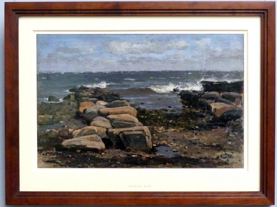 Antonie Biel: Meeresküste auf Rügen mit Steindämmen, vor 1880