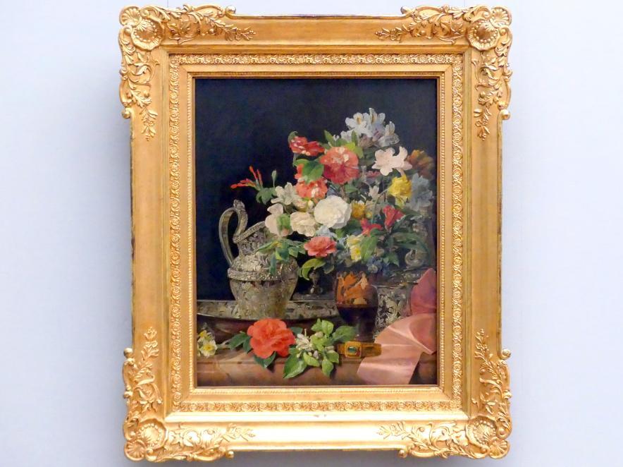 Ferdinand Georg Waldmüller: Blumenstrauß mit Silbergefäßen und antiker Vase, um 1840