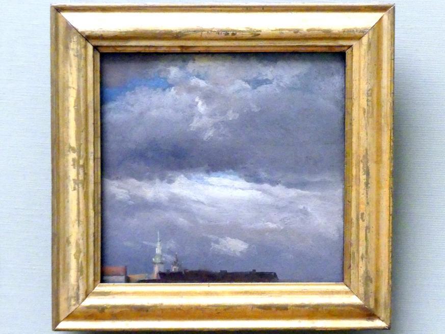 Johan Christian Clausen Dahl: Gewitterwolken über dem Schloßturm von Dresden, um 1825