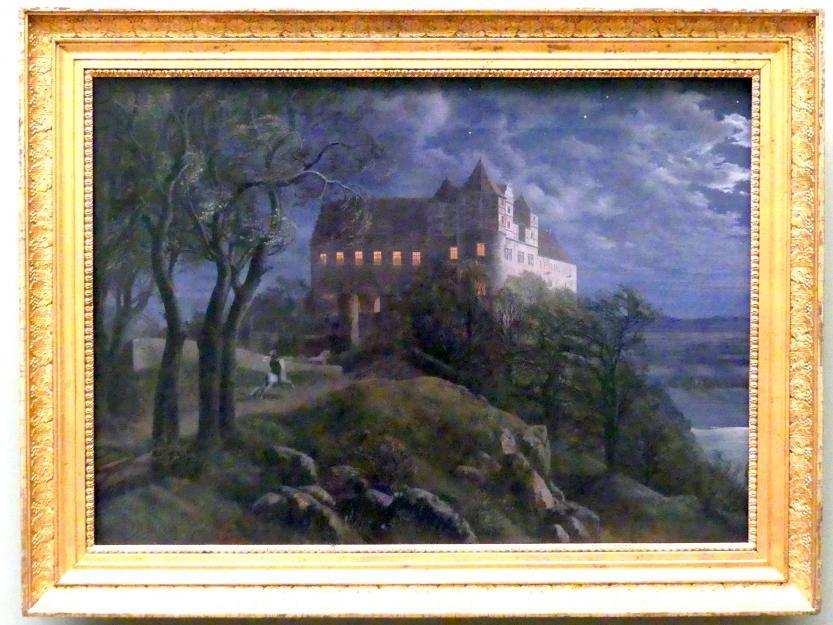Ernst Ferdinand Oehme: Burg Scharfenberg bei Nacht, 1827