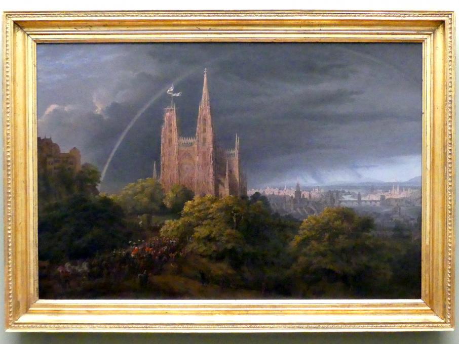 Karl Friedrich Schinkel: Mittelalterliche Stadt an einem Fluß, 1815