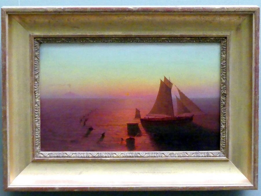 August Kopisch: Ein Schiff auf dem Meere von Delphinen umschwärmt, um 1826 - 1828