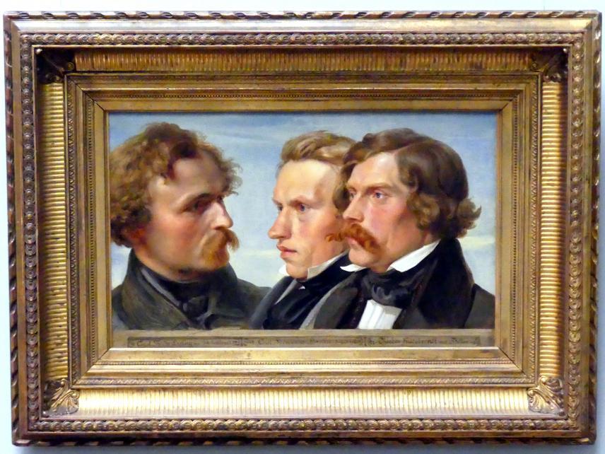 Julius Hübner: Die Maler Karl Friedrich Lessing, Carl Ferdinand Sohn und Theodor Hildebrandt, 1839