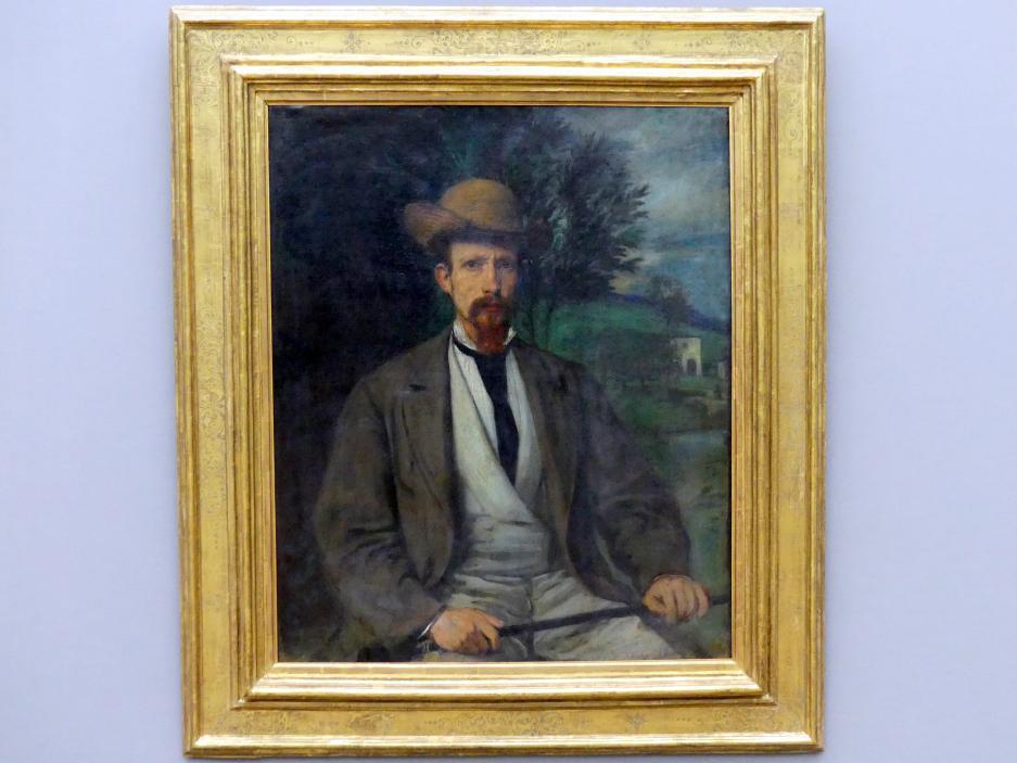 Hans von Marées: Selbstbildnis mit gelbem Hut, 1874