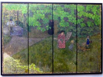 Pierre Bonnard: Die Familie des Komponisten Claude Terrasse im Garten (Wandschirm), 1896