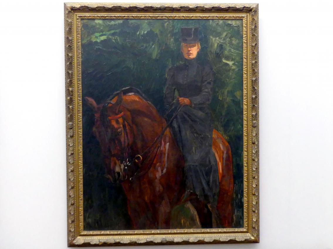Wilhelm Trübner: Reiterin (Ida Görz zu Pferde), 1900 - 1902