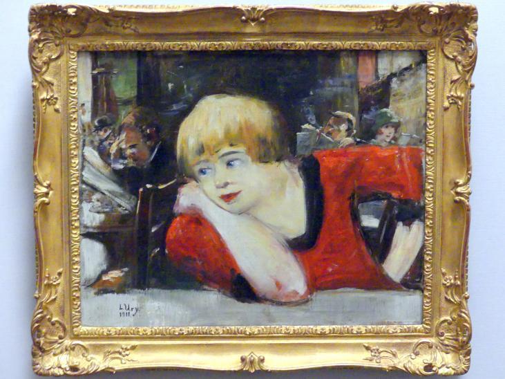 Lesser Ury: Im Cafe. Frau in Rot, 1911