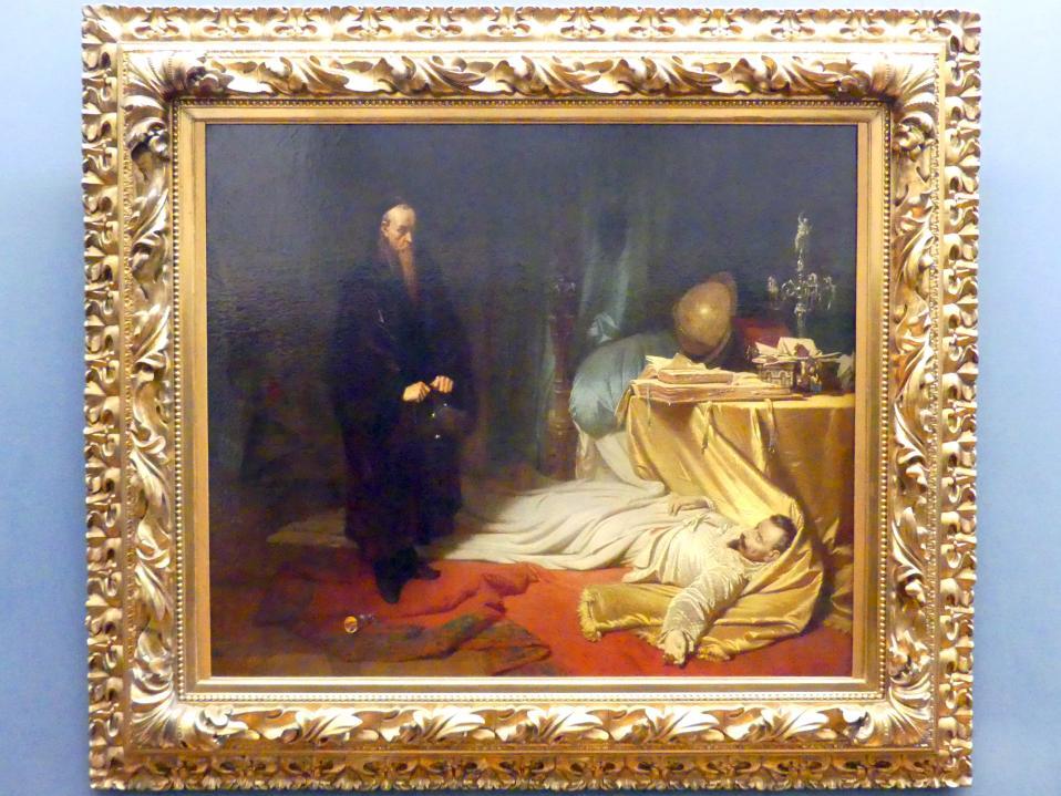 Carl Theodor von Piloty: Seni vor der Leiche Wallensteins, um 1855