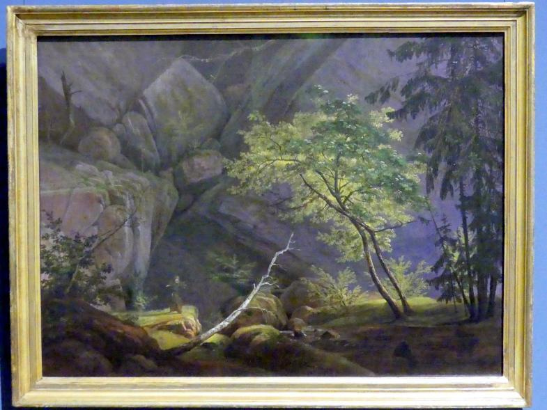 Carl Blechen: Felslandschaft mit Mönch, um 1826