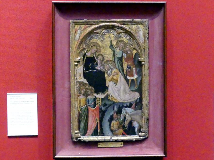 Vitale da Bologna: Anbetung der Könige mit den hll. Ursula und Katharina von Alexandrien, um 1350