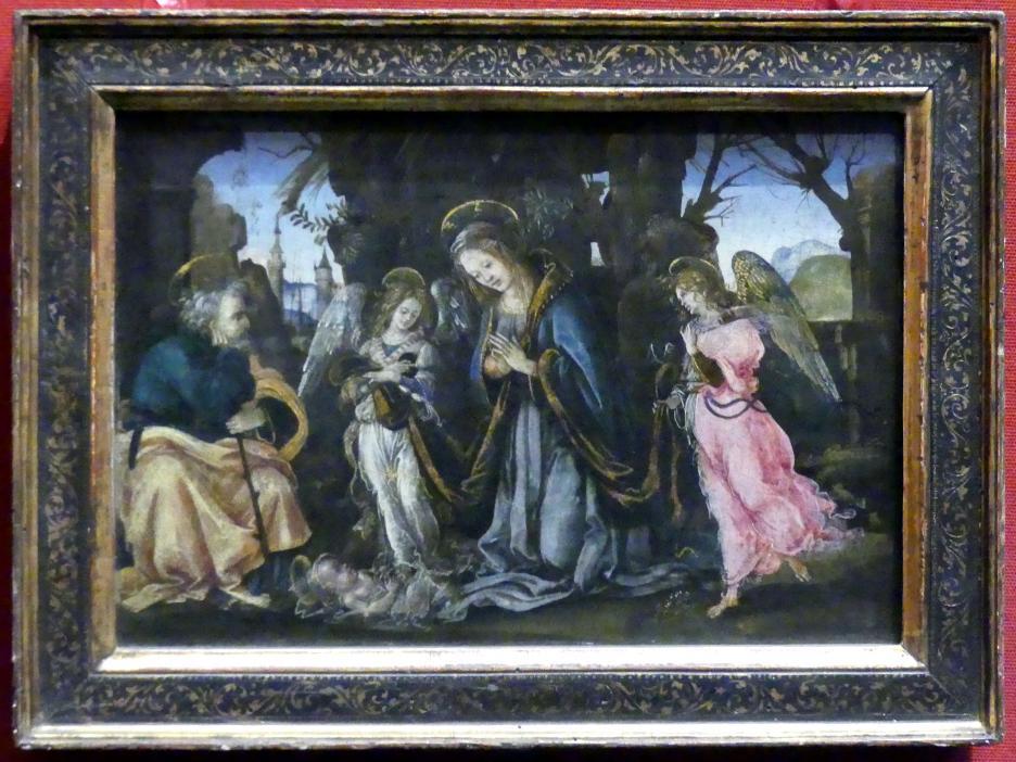 Filippino Lippi: Christ Geburt mit zwei Engeln, um 1490 - 1495