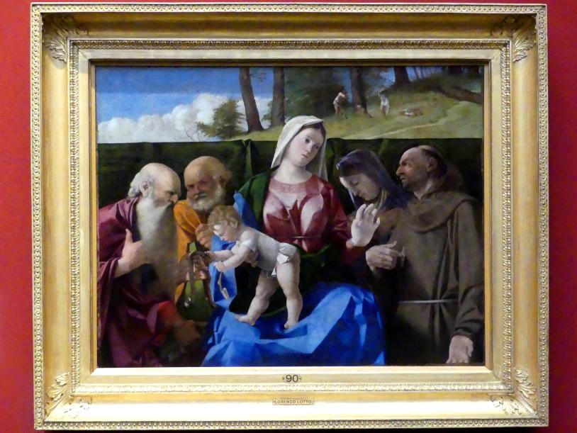 Lorenzo Lotto: Maria mit Kind und den hll. Petrus, Hieronymus, Franziskus und ein unbekannte weibliche Heilige, um 1505